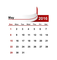 Simple calendar 2016 year may month vector