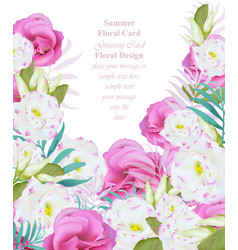 summer watercolor flowers beauty vector image
