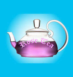 Teapot of flower tea vector