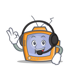 Tv character cartoon object with headphone vector