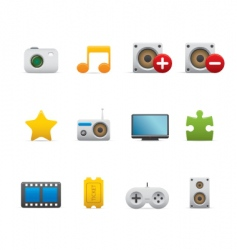 Multimedia and entertainment icons vector