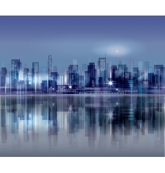 Modern night city skyline vector image