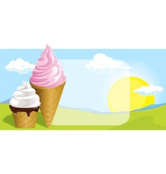 Two ice cream design on natural background vector
