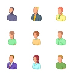 Office workers avatars icons set cartoon style vector