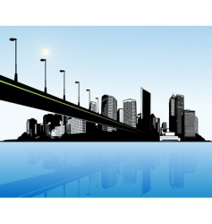 city with water and bridge vector image