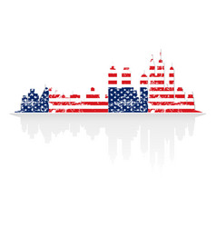 City skyline in colors of usa flag vector