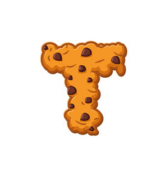 T letter cookies cookie font oatmeal biscuit vector