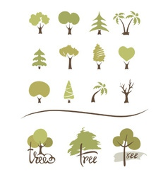 Collection icons - trees vector image