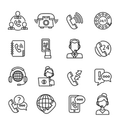 Call center outline icons set vector