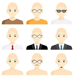 Set avatar man cartoon picture profile business vector