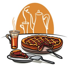 sweet pie and tea vector image