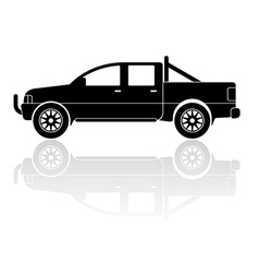 Pickup truck silhouette icon vector