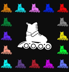 Roller skate icon sign lots of colorful symbols vector
