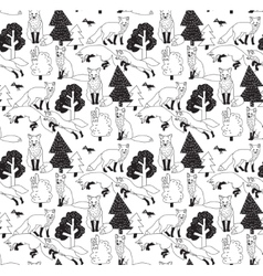 Fox forest black and white seamless nature pattern vector