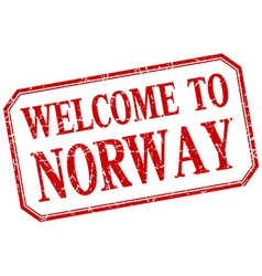 Norway - welcome red vintage isolated label vector