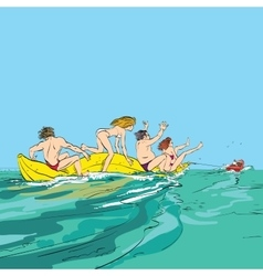Happy people having fun on banana boat vector