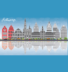 antwerp skyline with gray buildings blue sky and vector image vector image