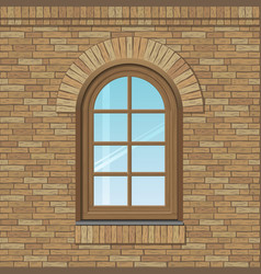 Arched old window vector