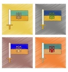 assembly flat shading style icon Ukrainian flag vector image vector image