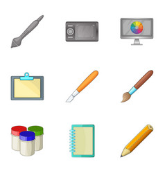 Computer drawing tools icons set cartoon style vector