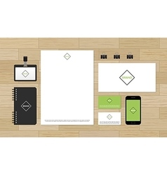 Corporate identity design mock-up on wooden vector