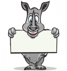 cute rhino mascot vector image vector image