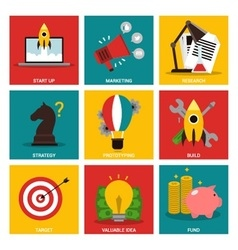 Entrepreneurship nine flat items concept vector