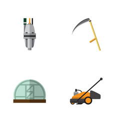 flat icon dacha set of cutter lawn mower pump vector image