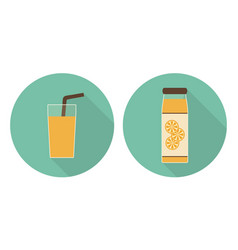 Flat orange juice glass and orange juice bottle vector