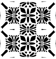Floral background Seamless black pattern vector image vector image