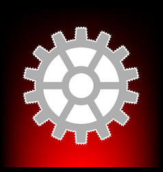Gear sign postage stamp or old photo style on red vector