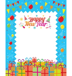 Gift boxes with happy new year decoration vector