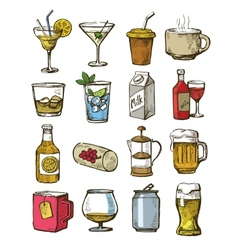 hand drawn beverages vector image vector image