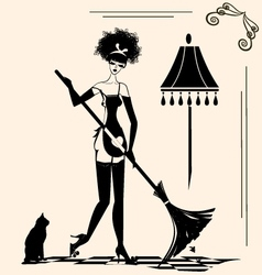Housewife and a broom vector