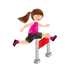 Little girl in obstacle race vector