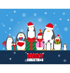 Merry christmas penguin wear santa hat holding vector