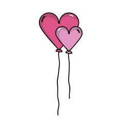 Nice heart balloons decoration design vector