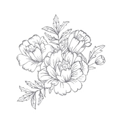 Ornate floral flyer with flowers doodle sharpie vector