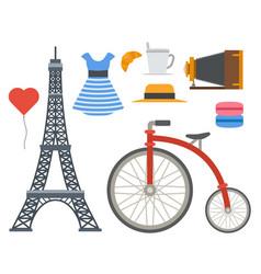 paris icons famous travel cuisine vector image