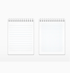 Realistic notepads with white sheets in line and vector