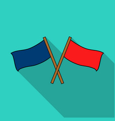 Red and blue flags icon in outline style isolated vector