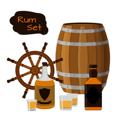 Rum set alcohol helm barrel shots rum bottle flat vector