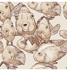 Seamless background with fish vector