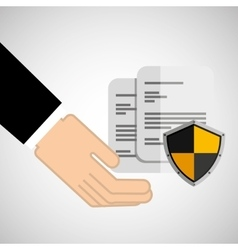 Security concept hand with document vector