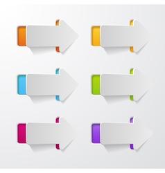 set of arrows cut in paper vector image