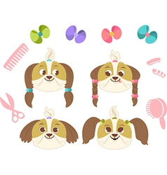 Set of dog hairs vector
