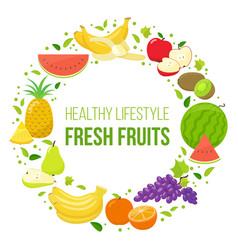 set of fruits healthy lifestyle vector image vector image