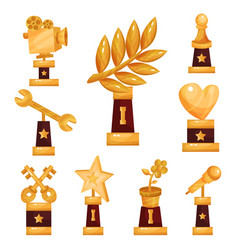 set of golden trophies and prizes gold awards vector image vector image