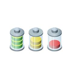 Set of stylish isometric battery charge icons vector