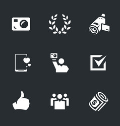 Set of video blogger icons vector